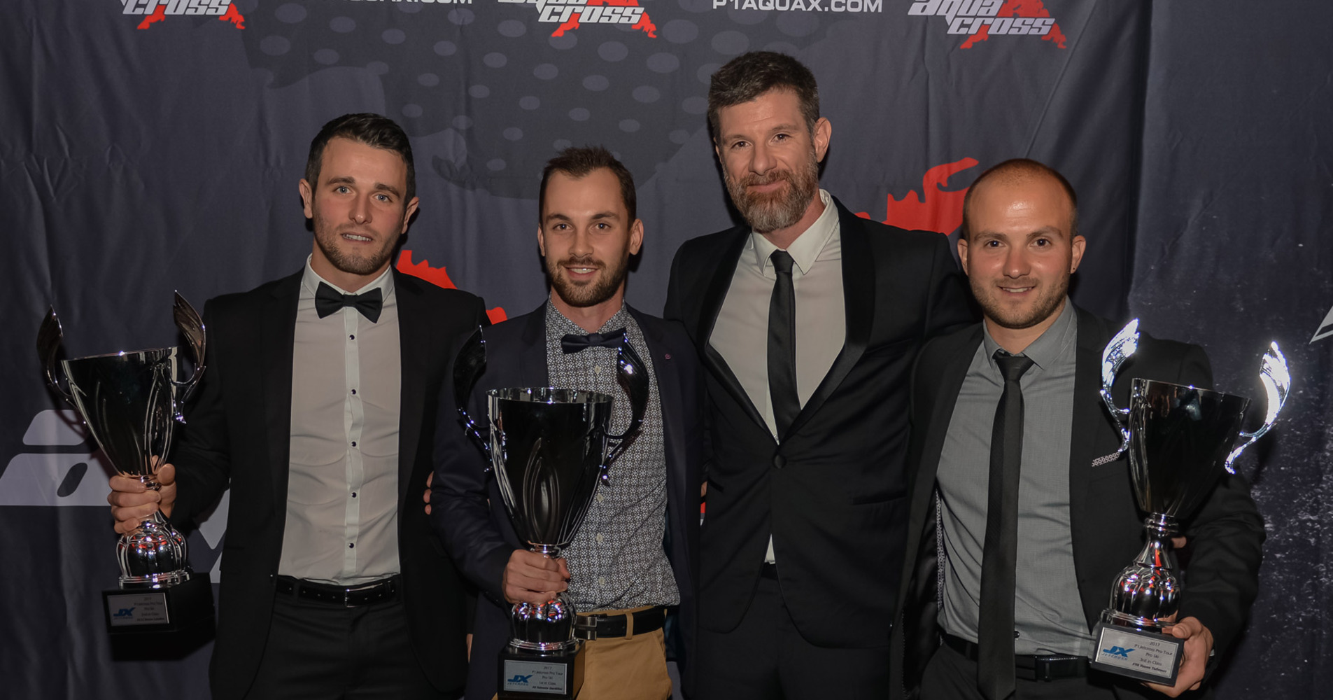 P1 Awards ceremony in London celebrates Jetcross Pro World Tour Champions - Left to Right : Steven Loiodice - Valentin Dardillat - Julien Bastien (P1 Jetcross manager) - Yoann Tollemer