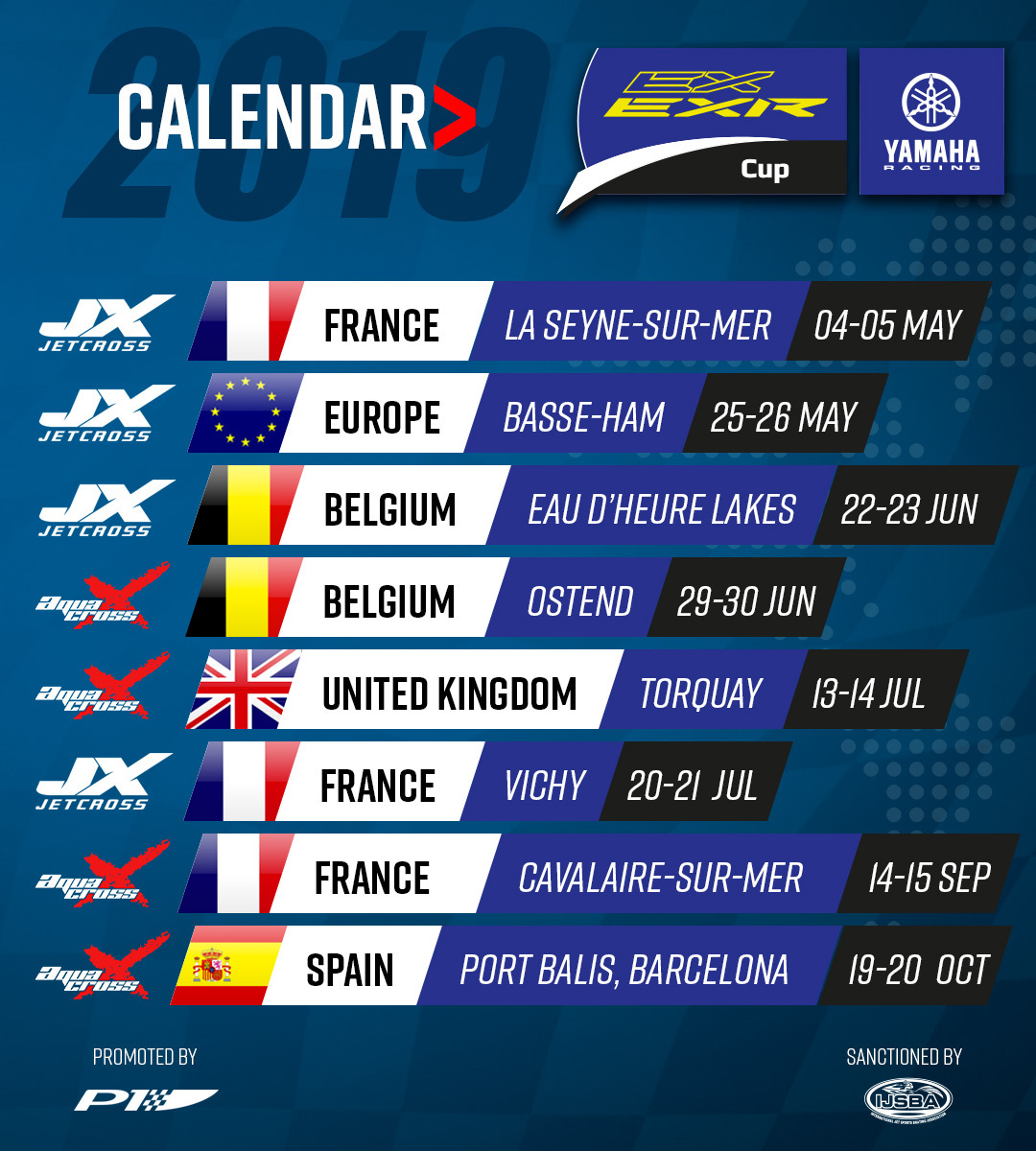 2019 Yamaha EX/EXR Cup calendar - all are individual race (no championship) - awarded 1st, 2nd, 3rd